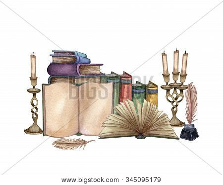 Hand Drawn Watercolor Illustration A Pile Of Old Books, Ink Bottle, Ink Feather, Open Book, Rare Pap