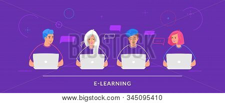 Four Teenagers Working With Laptop At Work Desk Typing On Keyboard. Flat Line Vector Illustration Of