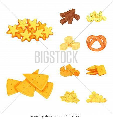 Isolated Object Of Food And Crunchy Sign. Collection Of Food And Flavor Vector Icon For Stock.