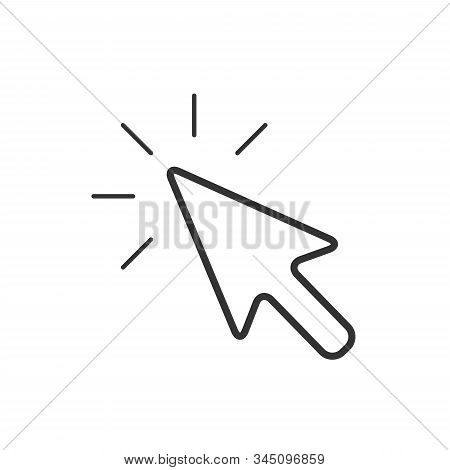 Computer Mouse Cursor Icon In Flat Style. Arrow Cursor Vector Illustration On White Isolated Backgro
