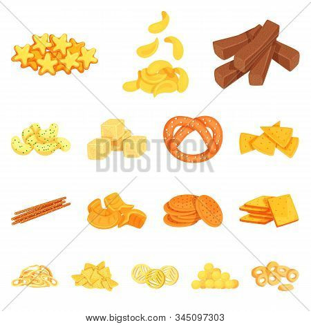 Isolated Object Of Food And Crunchy Icon. Collection Of Food And Flavor Vector Icon For Stock.