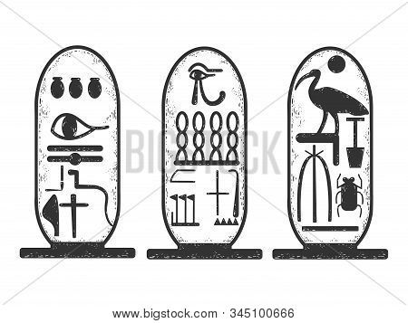Ancient Egyptian Cartouche Sketch Engraving Vector Illustration. T-shirt Apparel Print Design. Scrat