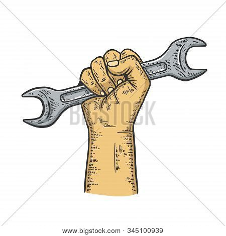 Wrench In Fist Sketch Engraving Vector Illustration. T-shirt Apparel Print Design. Scratch Board Imi