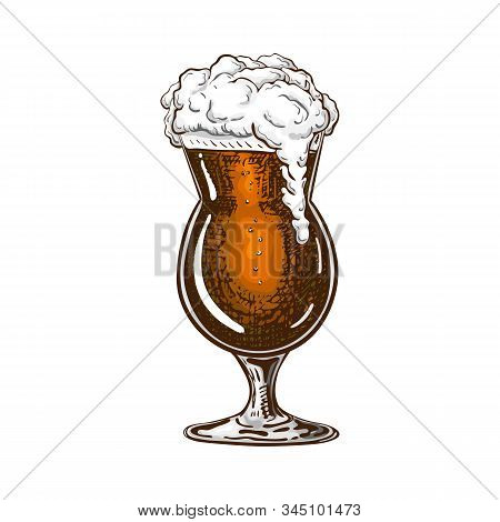 Hand Drawn Tulip Beer Glass Full Of Dark Beer With Liquid Foam. Beautiful Vintage Beer Mug Or Snifte