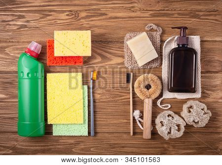Natural Organic Cleaning Products Versus Regular Toxic Detergent, Synthetic Sponges And Plastic Brus
