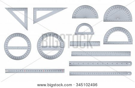 Set Of Engineer Or Architect Aluminium Drafting Protractor, Ruler And Triangle With A Metric And An