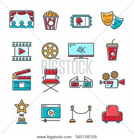 Cinema And Movie Colored Line Icons Set With Popcorn, Award, Clapperboard, Tickets And 3d Glasses. L