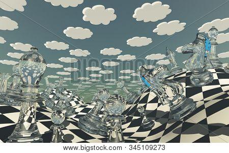 Wonderland. Surreal Chess Landscape. 3D rendering