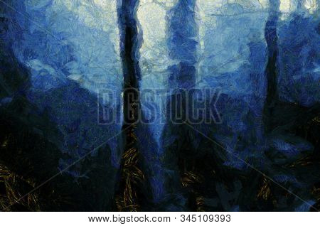 Digital Painting. Surreal dark forest. 3D rendering