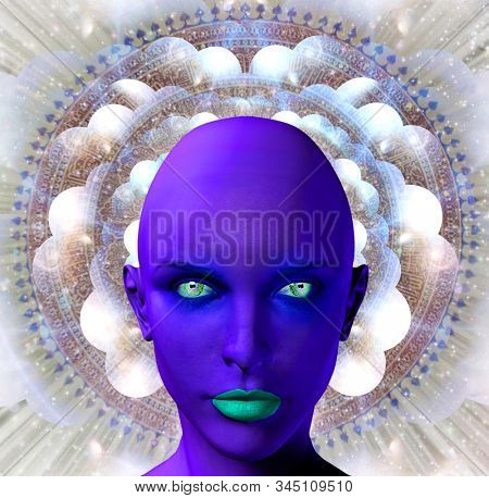 Purple female alien face on a background with multi-layered spaces and mandala. 3D rendering