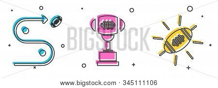 Set Planning Strategy Concept, Award Cup And American Football Ball And American Football Ball Icon.