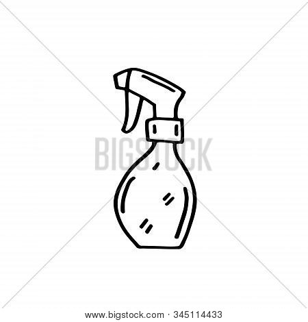 Watering Pulverizer, Spray For Garden Vector Doodle Line Art Illustration, Sticker, Icon. Isolated O