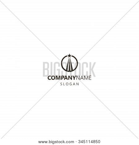 Black And White Simple Flat Art Vector Iconic Logo Of A Soaring Up Star In A Round Frame