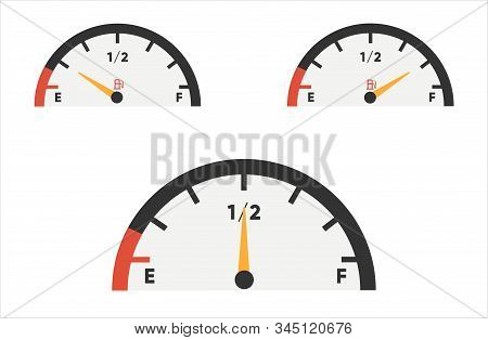 Fuel Gauge Icon. Gasoline Indicators Set. Fuel Indicator. Vector