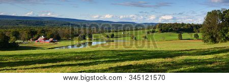 Panoramic Photograph Of Farm Land In Sussex County New Jersey Usa
