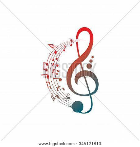 Music Notes Waving, Music Background, Vector Illustration Icon