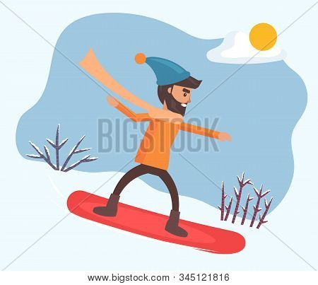Smiling Male Character Wearing Casual Clothes And Hat Snowboarding Outdoor. Activity Of Snowboarder