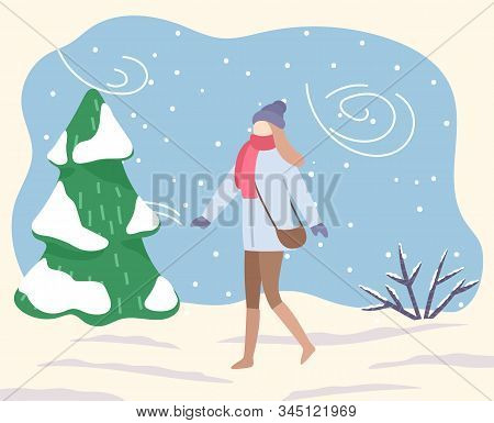 Woman In Park Or Forest. Blizzard And Bad Weather Conditions Outdoors. Female Character Wearing Warm