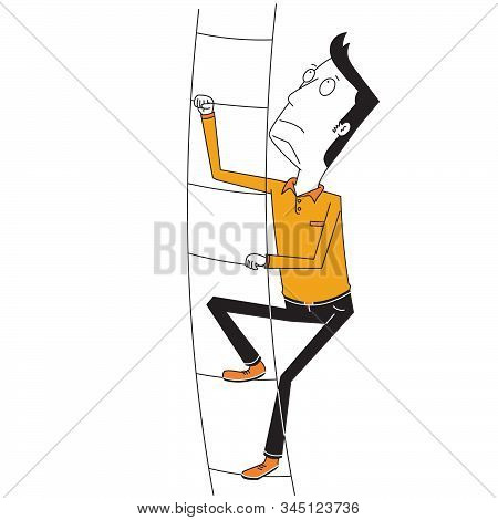 Illustration Of A Man Climbs High Stair