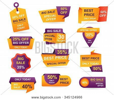Set Of Retail Sale Tags. Stickers Best Offer Price And Big Sale Pricing Tag Badge Design. Limited Sa