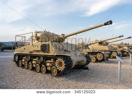 Latrun, Israel, January 14, 2020 : Sherman M50 Tank Is On The Memorial Site Near The Armored Corps M