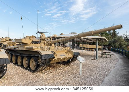 Latrun, Israel, January 14, 2020 : Tiran 6 (t62) Tank Is On The Memorial Site Near The Armored Corps