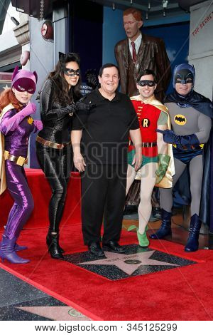 LOS ANGELES - JAN 9:  Riddler, Catwoman, Burt Ward, Robin, Batman at the Burt Ward Star Ceremony on the Hollywood Walk of Fame on JANUARY 9, 2020 in Los Angeles, CA