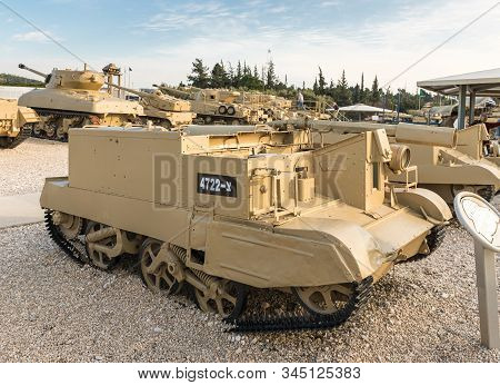 Latrun, Israel, January 14, 2020 : Universal Carrier, Flamethrower Is On The Memorial Site Near The