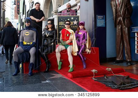 LOS ANGELES - JAN 9:  Burt Ward, Kevin Smith, Batman, Catwoman, Robin, Riddler at the Burt Ward Star Ceremony on the Hollywood Walk of Fame on JANUARY 9, 2020 in Los Angeles, CA