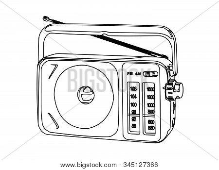 Portable Am Fm Radio Contour Vector Illustration