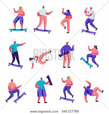 Set Of Flat Girls And Boys Skateboarding Characters. Cartoon People Teenagers Male And Female Riding
