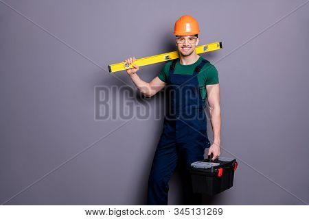 Photo Of Handsome Attractive Timber Guy Skilled Engineer Hold Measure Rack Tool Box Start Work Wear