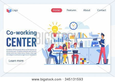 Co-working Center Center Landing Page Vector Template. Office Structure, Workplace And Rest Zone, Co