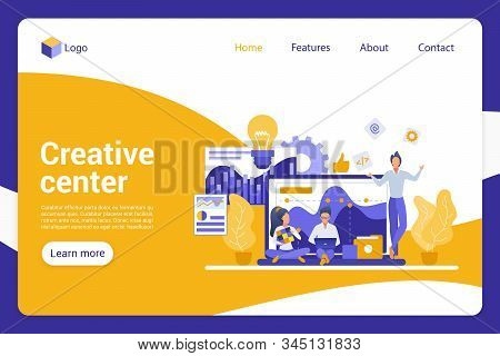Creative Center Flat Landing Page Vector Template. Company Department, Advertising Agents Faceless C