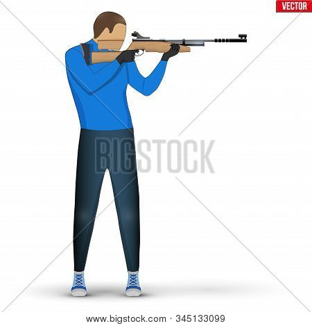 Shooter With Air Rifle. Shooting Sport Equipment Illustration. Athlete Shooter Man Aiming. Vector Il