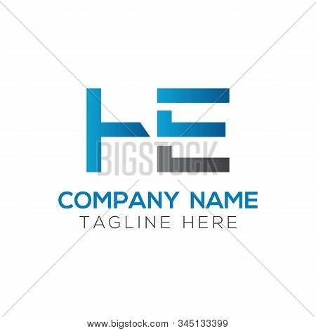Letter He Logo Design Linked Vector Template With Blue And Black. Initial He Vector Illustration