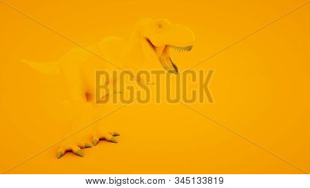 Tyrannosaurus Rex On Orange Background. Minimal Idea Concept, 3d Illustration.