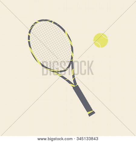 Beautiful Racket And Ball For Playing Tennis. Inventory For Lawn Tennis On Court.vector Flat Illustr