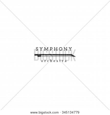 Music Isolated Logo Template With A Violin Bow Vector Hand Drawn Icon.