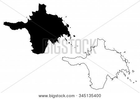 Hiiu County (republic Of Estonia, Counties Of Estonia) Map Vector Illustration, Scribble Sketch Hiiu
