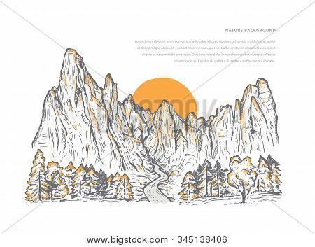 Nature Sketch Of A Mountains With Forest, Stream, Sunrise Or Sunset And Space For Text. Romantic Lan
