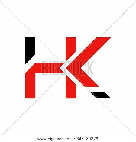 Letter Hk Logo Design Linked Vector Template With Red And Black. Initial Hk Vector Illustration