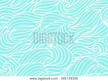 Seamless Wave Pattern. Background With Sea, River Or Water Texture. Wavy Striped Abstract Fur Or Hai