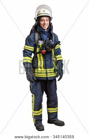 Young Smiling Firefighter With A Mask And An Air Pack On His Back In A Fully Protective Suit On A Wh