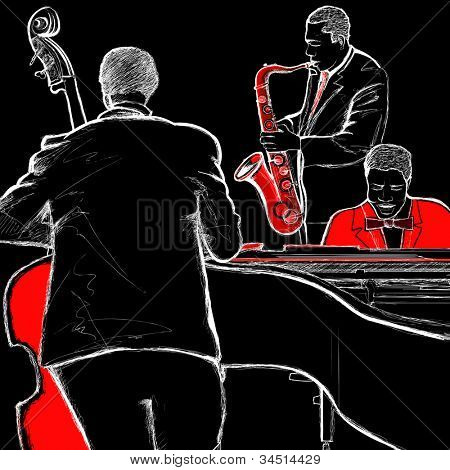 illustration of a jazz band with double-bass piano and saxophone