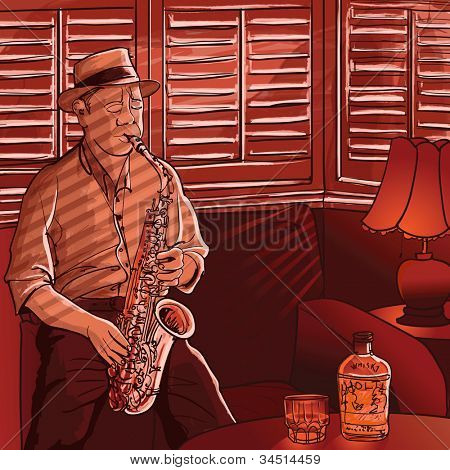 Vector illustration of a saxophonist playing in a house with shutters