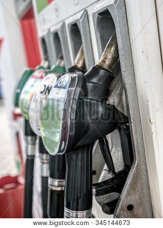 Petrol station pumps with diesel, unleaded 95 and 98 fuel distributors