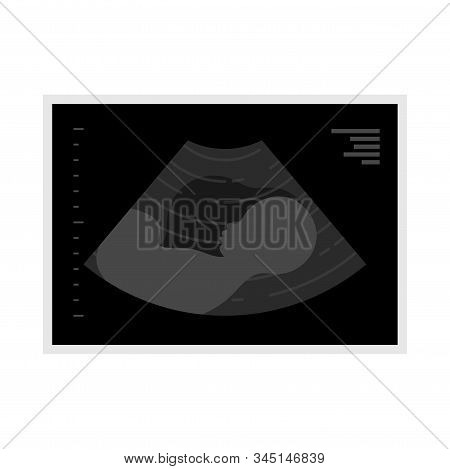 Baby Ultrasound Picture Flat Icon. Fetus Silhouette In Mothers Womb, Pregnancy Diagnostic Sonography