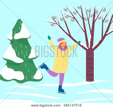 Woman Skating Alone In Park Or Forest. Lady Spend Leisure Time On Winter Holidays Doing Her Hobby. L