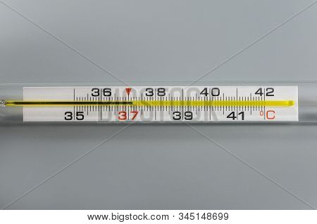 Thermometer With Mercury For Measuring Body Temperature In Case Of Illness. Thermometer With High Te